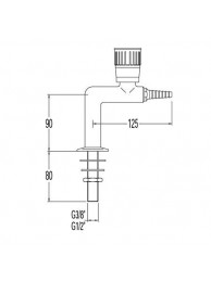 Кран лабораторный для природного газа, Г-образный, для установки в столешницу (mod. 2010)