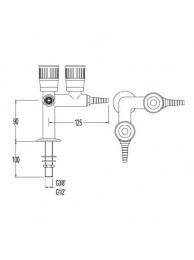 Кран лабораторный для природного газа, V-образный, угол 90, для установки в столешницу (mod. 2012)