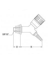 Кран для технического газа, угол 45, со штуцером и наклонным вентилем, для установки в стену (mod. 3052)