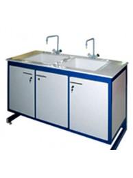 Стол-мойка двойная разборно-металлическая 1500 СМДпп/w-У (Wilsonart, две мойки полипропилен 500х400х300 мм.)