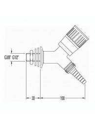 Кран для воды, угол 45, для установки в стену, со штуцером и наклонным вентилем (mod. 1011)