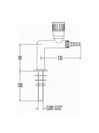 Кран для воды, Г-образный, малый, для установки в стол (mod. 1060)