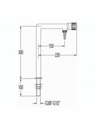 Кран для воды, Г-образный, большой, для установки в стол (mod. 1062)