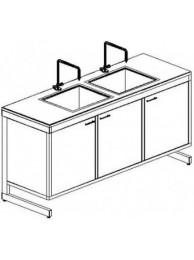 Стол-мойка двойная разборно-металлическая 1500 СМДн-У (нерж. сталь, гл 250-300 мм.)