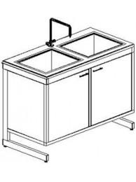Стол-мойка двойная разборно-металлическая 1200 СМДкб-У (керамика с борт., гл. 260 мм.)